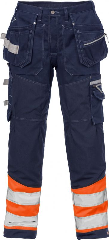 Fristads High Vis Gen Y Craftsman Trousers CL 1 2127 CYD (High Vis Orange/Navy Blue)